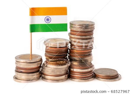 Stack of coins with India flag on white 68527967