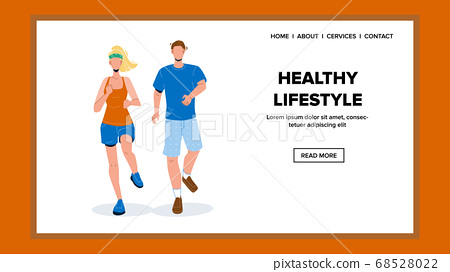 Healthy Lifestyle Young Couple Runners Vector Illustration 68528022