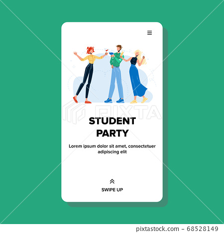 Student Party Happy Friends Drinking Drinks Vector 68528149