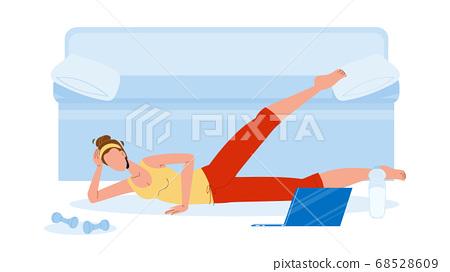 Woman Athlete Making Aerobics Exercise Vector Illustration 68528609