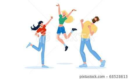 Happy People Jumping Enthusiasm Emotion Vector Illustration 68528613