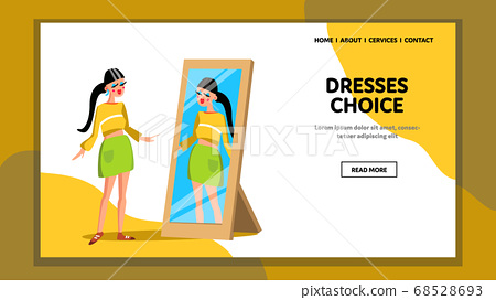 Dresses Choice Woman In Shop Fitting Room Vector 68528693