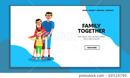 Family Together Standing And Holding Hands Vector 68528790