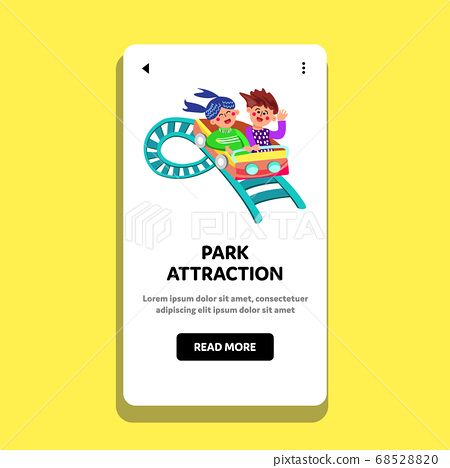 Park Attraction Children Ride Rollercoaster Vector Illustration 68528820