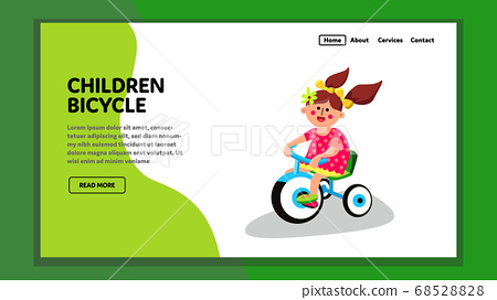 Children Bicycle Tricycle Ride Little Girl Vector 68528828