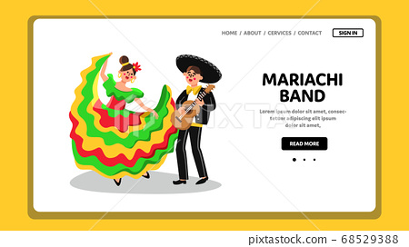 Mariachi Band Performing Music And Dancing Vector 68529388