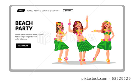 Beach Party In Hawaiian Traditional Style Vector 68529529