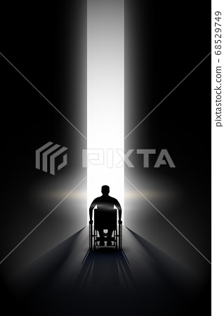 Light at the end of the tunnel and Disabled people 68529749
