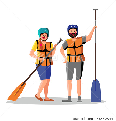 Rafting People Wear Life Vest Hold Paddle Vector 68530344
