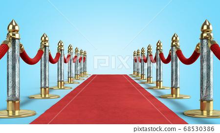 red carpet for event 3d render on blue gradient 68530386