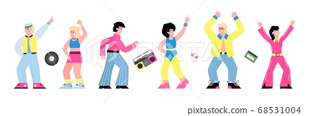 80s disco party banner with dancing people flat vector illustration isolated. 68531004