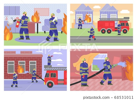 Set of vector flat illustrations of firefighters that to put out fires in house 68531011