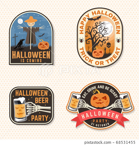 Halloween Beer party patch. Halloween retro badge, pin. Sticker for logo, print, seal. Scarecrow with raven, pumpkin, skeleton hand with glass of magic beer. Typography design- stock vector. 68531455