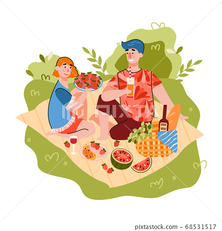 Cartoon couple on summer picnic eating fresh fruit and drinking wine 68531517