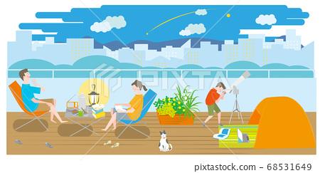 露營在陽台上的男人,女人和男孩 68531649