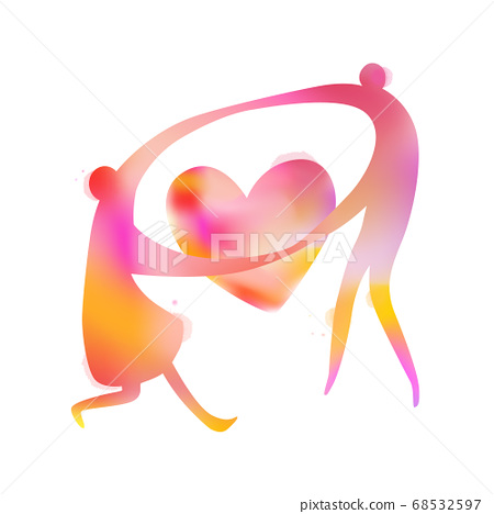 Watercolor of couple dancing with heart symbol. 68532597