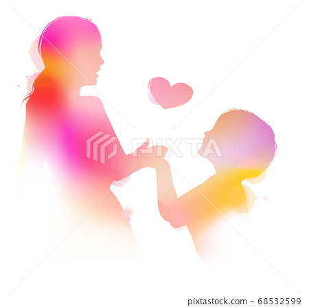 Happy mom holding adorable  baby child silhouette 68532599