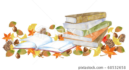 書和秋天的落葉,秋天的閱讀形象 68532658