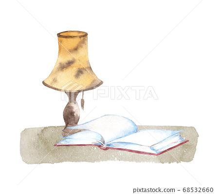 책과 램프의 수채화 68532660