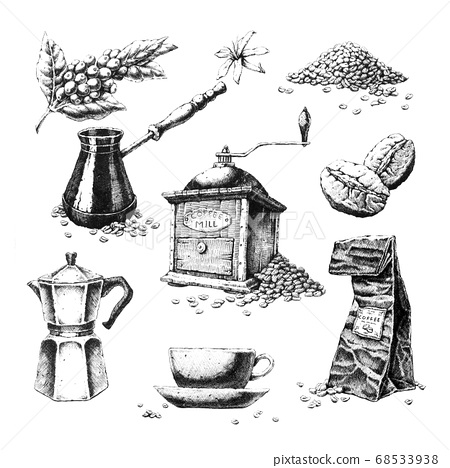 Hand-drawn black and white illustrations on the 68533938
