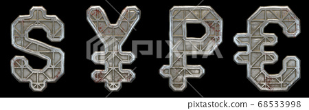 Set of symbols dollar, yen, rouble and euro made of industrial metal on black background 3d 68533998
