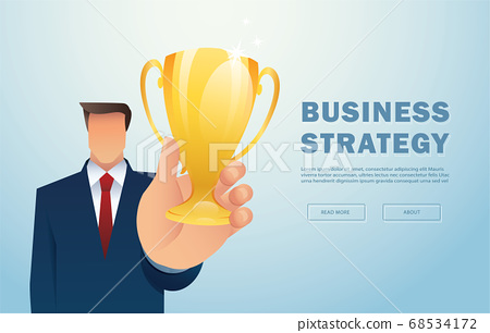 Businessman holding gold trophy. Concept of win and success. vector illustration 68534172