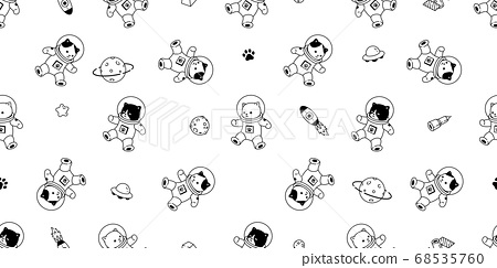 cat seamless pattern kitten vector space suit calico spaceship ufo Galaxy star pet animal scarf isolated tile background repeat wallpaper cartoon illustration doodle design 68535760
