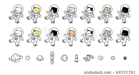 cat vector kitten icon space suit calico spaceship ufo star planet galaxy pet cartoon character animal doodle symbol illustration design 68535762