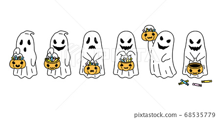 Ghost vector spooky Halloween icon pumpkin basket candy logo symbol cartoon character doodle evil illustration design 68535779