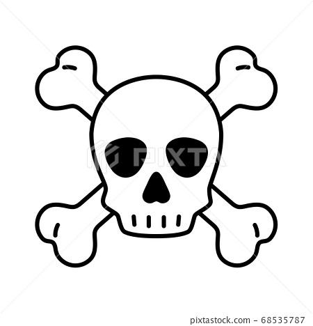 skull crossbones icon vector Halloween logo pirate symbol bone ghost head cartoon character illustration doodle design 68535787