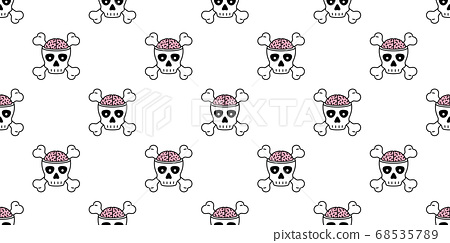 skull Halloween seamless pattern crossbones pirate brain vector zombie symbol ghost scarf isolated repeat wallpaper tile background cartoon doodle illustration design 68535789