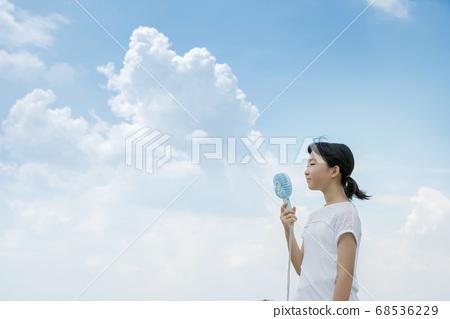 小學女生用便攜式風扇冷卻 68536229