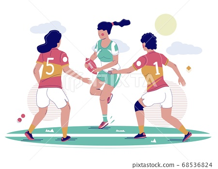 Women rugby football game, vector flat illustration 68536824