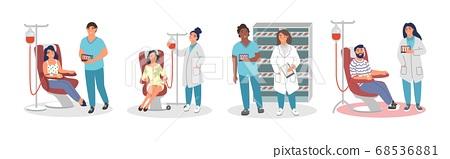 Blood donation set, vector flat isolated illustration 68536881