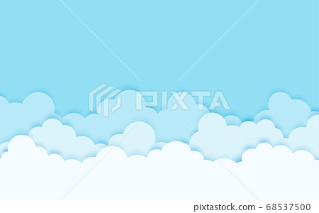 White and blue clouds with the sky, cartoon design 68537500