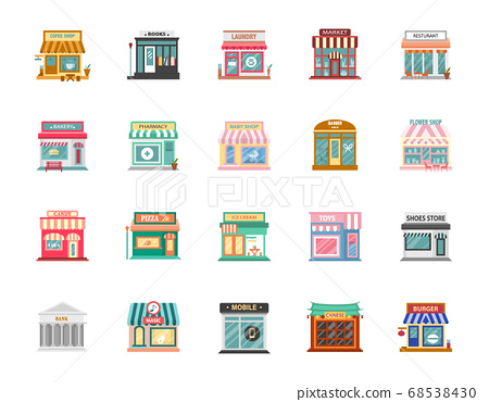 Collection of shop buildings isolated on white background,Retail business urban shop, store. Market and bakery, cafe and boutique store, vector illustration. 68538430
