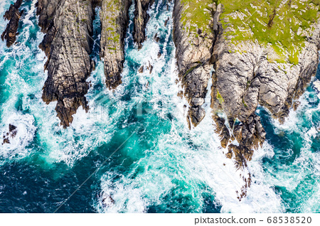 Aerial view of the coastline at Malin Head in Ireland 68538520
