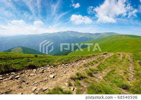 mountain road through grassy meadow. wonderful 68540506
