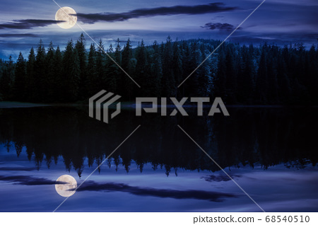 scenery around the lake in mountains at night. 68540510