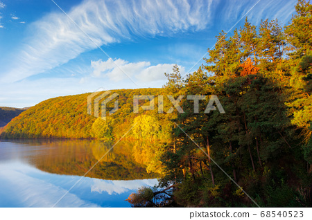 mountain lake among the forest. trees in colorful 68540523