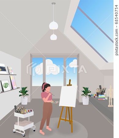 Woman using weekend holiday with drawing at art room.  68540754
