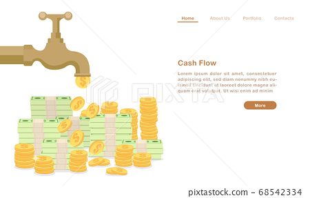 Website landing page template cartoon golden water tap faucet dropping money coin and bill cash flow concept 68542334