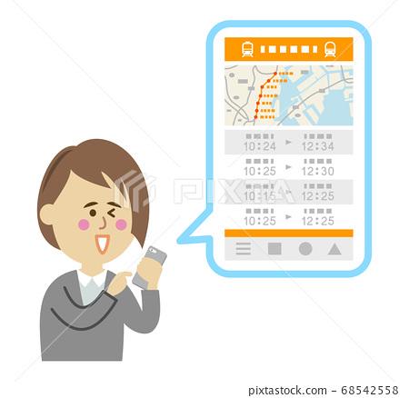 스마트 폰에서 기차 응용 프로그램을 사용 여성 직장인의 일러스트 68542558