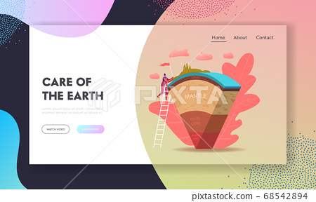 Scientist or Student Girl Learn Geophysics Science Landing Page Template. Female Study Earth Structure Divided In Layers 68542894