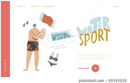 Swimming Class Landing Page Template. Male Swimmer in Pool. Man Character at Poolside Wear Swimming Hat and Glasses 68543030