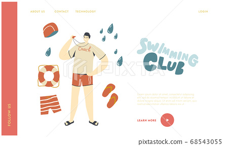 Swimming Sport Coach Teaching Swimmers Characters in Pool Landing Page Template. Sports Trainer with Whistle at Poolside 68543055