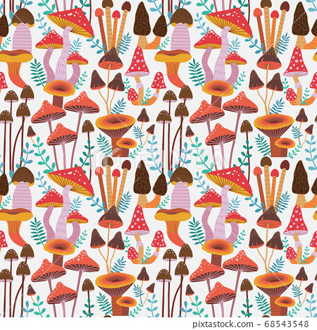Forest Mushrooms Seamless Pattern 68543548