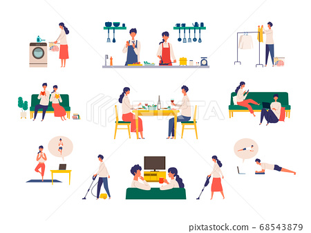 Illustration of men and women enjoying stay home 68543879