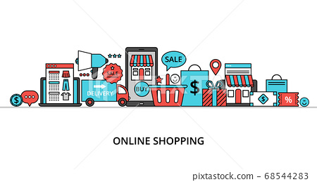 Concept of online shopping, internet sales with 68544283
