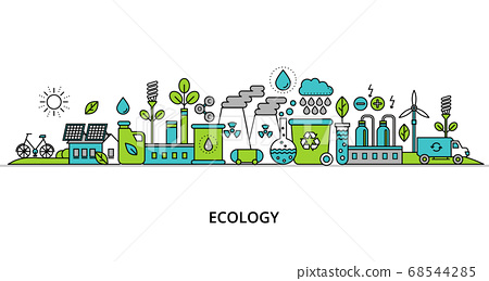 Concept of ecology problem with word and 68544285